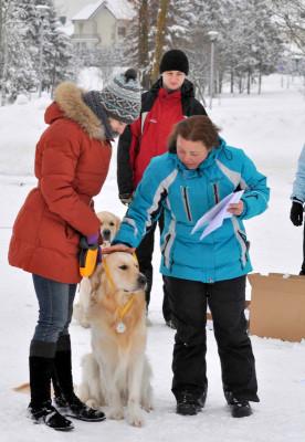 Екатерину и ее собаку Золотой Охотник Априори Лаки