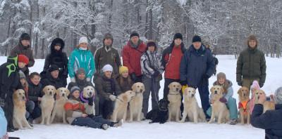 20 января 2013 года, питомцы питомника Золотой охотник и их хозяева собрались в лесопарковой зоне водохранилища Дрозды, чтобы узнать, как и чем заниматься с собакой во время прогулки.