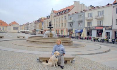 А перед ней очень красивый фонтан и очень удобные каменные скамейки.
